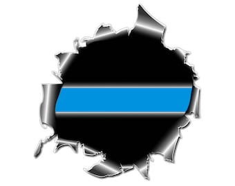 Thin Blue Line Bullet Hole Ripped Metal Police Officer Law Enforcement Decal / Sticker #147 Made in U.S.A.