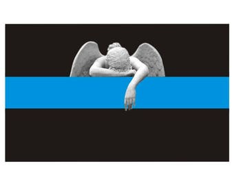 Thin Blue Line Angel Crying Police Law Enforcement Decal / Sticker #198 Made in U.S.A.