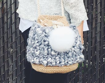 Hemp crochet purse
