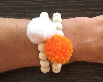 Tennessee Vols Bracelets, Orange and White, Pom Pom Bracelets, Vols Jewelry, pompom, pom pom, pom pom jewelry