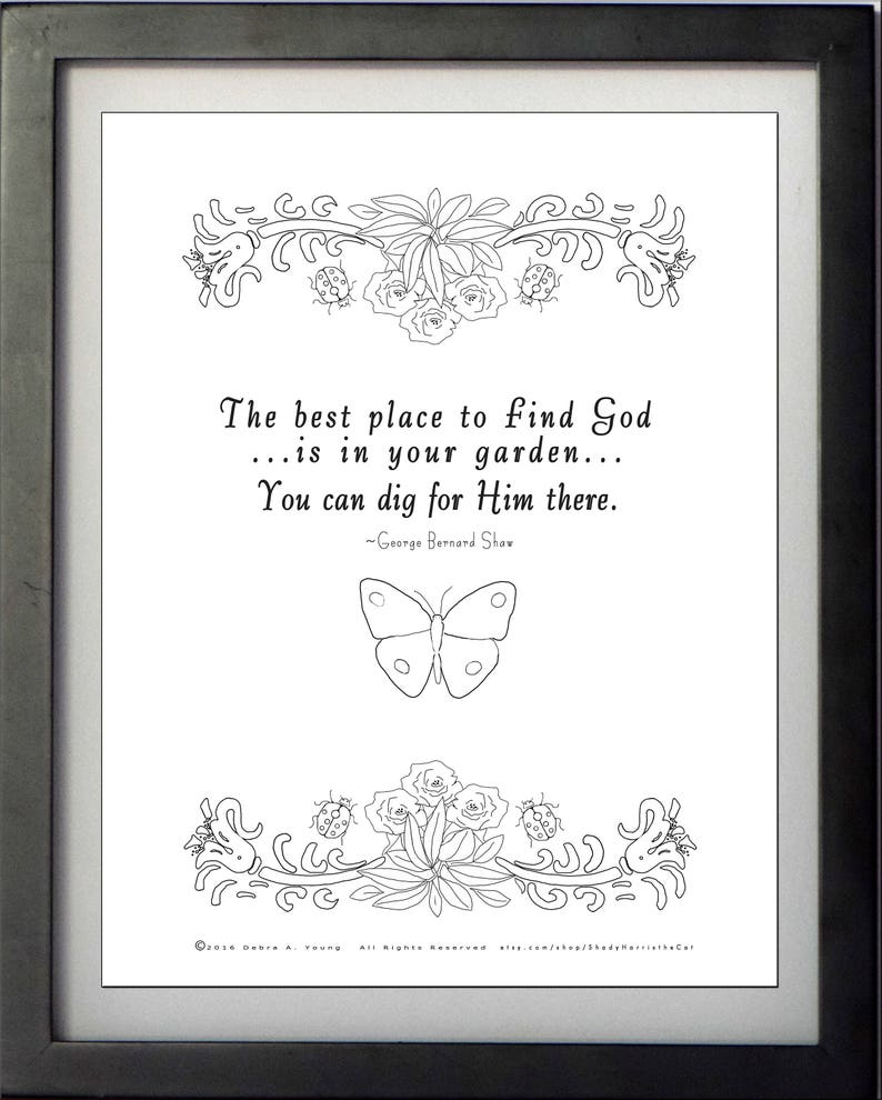 Coloring Pages Formated for Wall Decor & Notecard Format: God in Garden  Quote  Encouragement  Religious Message Coloring  Print and Color