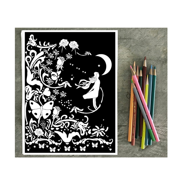 Sweet Dreams Floral Coloring Page With Black Background A Etsy