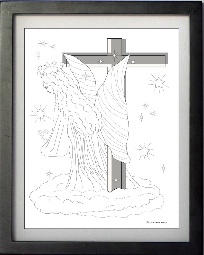 3 printable coloring sheets guardian angel coloring sheets 1 with cross 1 extreme coloring from church window free card with purchase