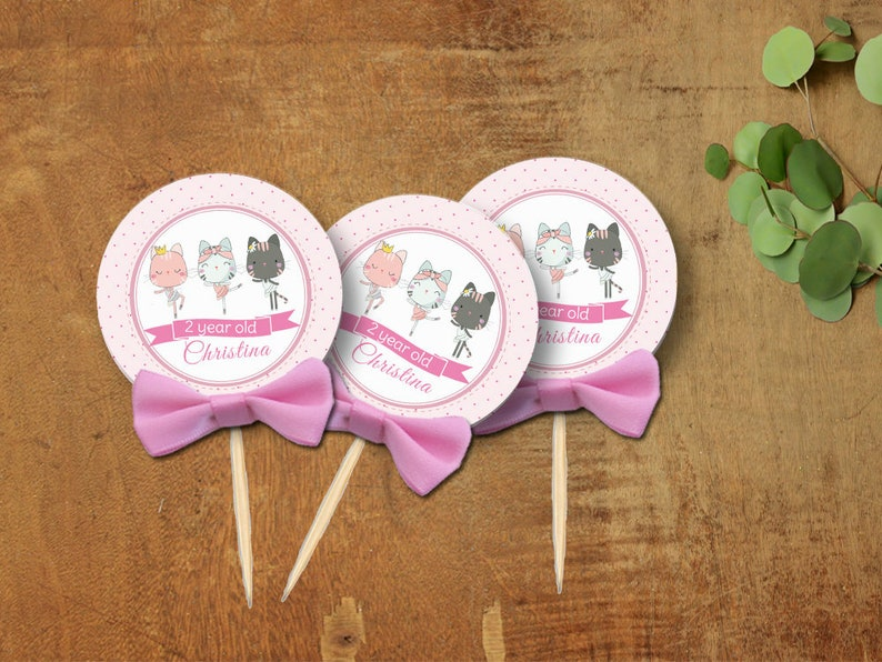 Pink Ballerina Cake TOPPERS Custom Cake Toppers Cute Cat Birthday Toppers Ballerina Birthday Cupcake Topper Set Baby Shower Toppers 10CT