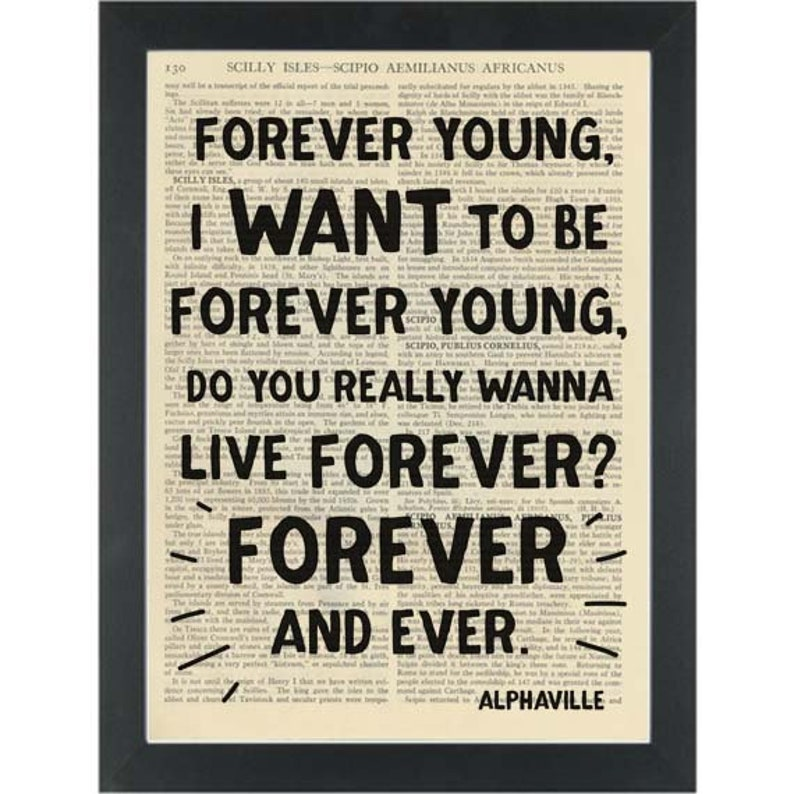 cf60c45e86c7 Alphaville lyrics Forever Young Dictionary Art Print | Etsy