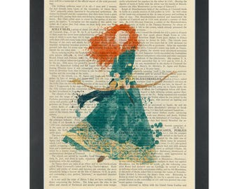 Princess Brave watercolor girls bedroom Dictionary Art Print