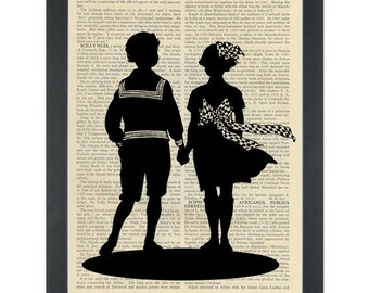 Vintage silhouette drawing nursery black and white Dictionary Art Print
