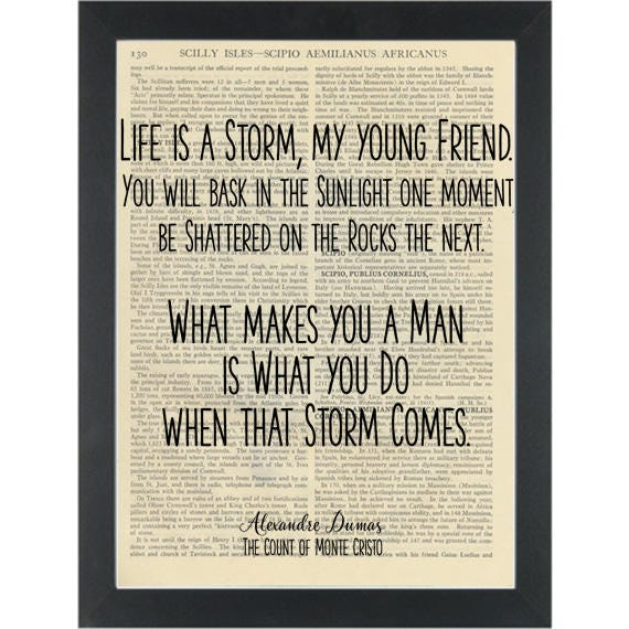 Literary Quote Count Of Monte Cristo Life Is A Storm Etsy