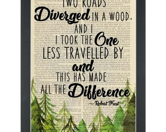 Inspiring Life Quote Print by Robert Frost, Two Roads diverged, Wall Art, Dictionary Art Print