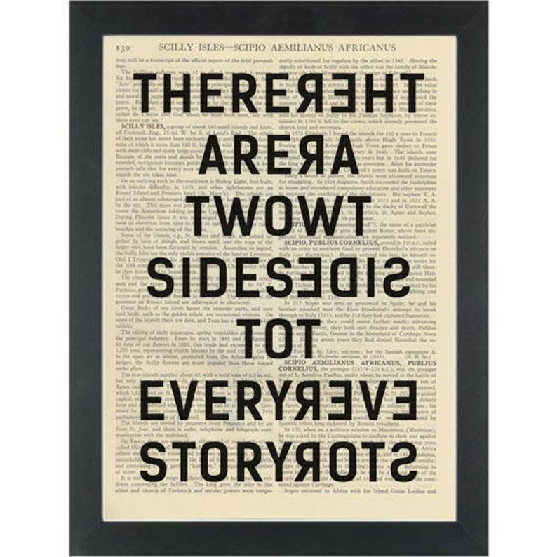Inspiring Quote Two Sides To Every Story Dictionary Art Print Etsy