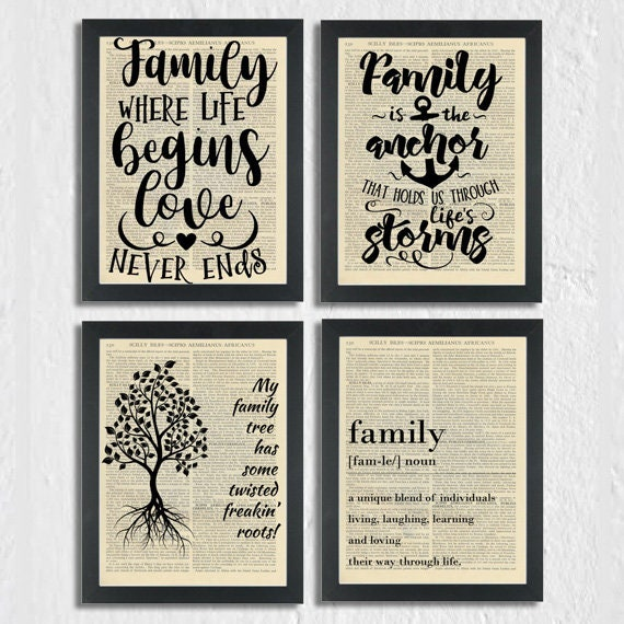 Family Print Inspiring Family quote Where Life Begins Love Never Ends Dictionary Art Print