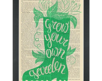 Inspirational gardening Grow your own food Dictionary Art Print