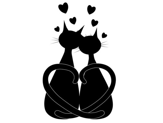 Cat Clipart Love Clipart Black Cat Clipart Vector Cat Etsy