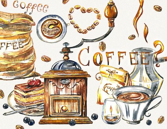 Kaffee Clipart Kaffeetasse Essen Clipart Aquarell Kaffee Etsy