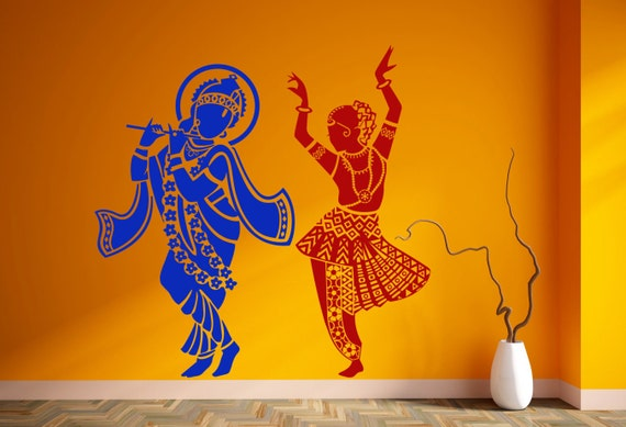 radha krishna wall sticker vinyl hindu god decal dancing | etsy