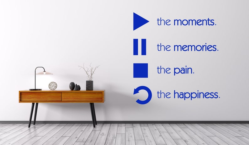 Play Pause Stop Repeat Wall Sticker Living Room Vinyl Decal Modern Stencil Art Gift