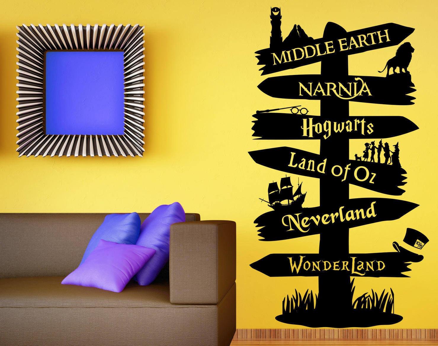 Storybook Signpost Wall Decal Custom Wall Decal Fandom Wall | Etsy