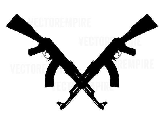 Rifle SVG Gun Cricut Files AK47 Crossed Rifle SVG AK-47 SVG Gun Vector