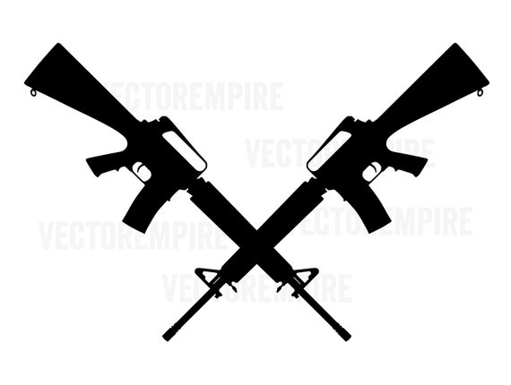 AR-15 Crossed SVG M-16 SVG M-4 Svg Gun Vector Gun Cricut ...