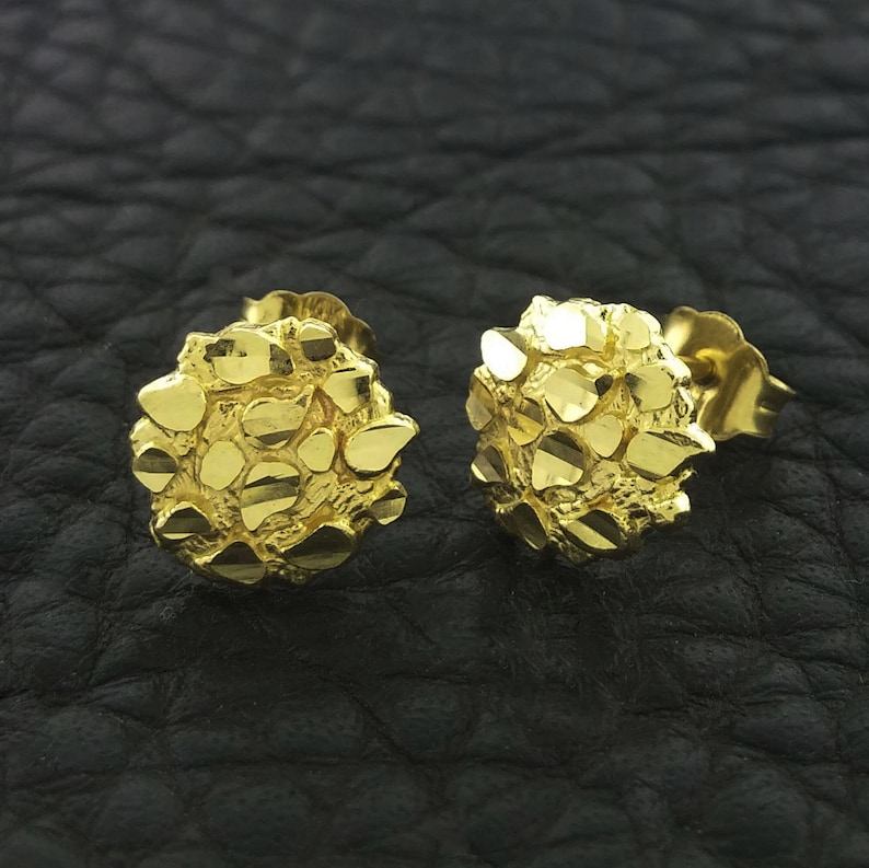 2aba8e37baa28 Yellow Gold Nugget Stud Earrings, Nugget Earrings, 14k Gold Nugget  Earrings, Gold Nugget Stud Earrings, Round Nugget Earrings