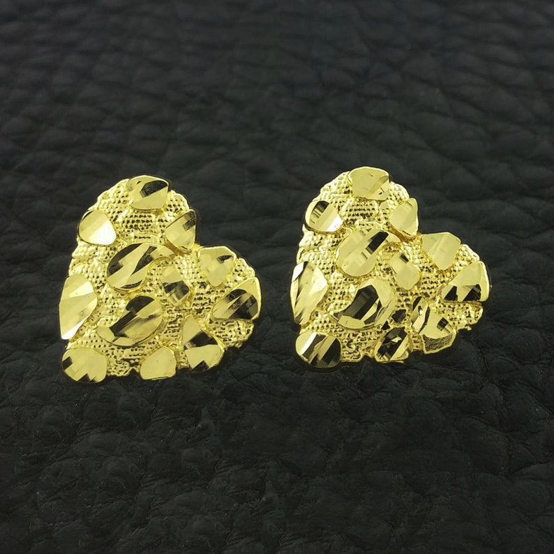 4294aa614be19 Yellow Gold Heart Nugget Stud Earrings, Heart earrings, Gold Heart  Earrings,10k Nugget Earrings, Gold Nugget Earrings, Heart Nugget Earrings