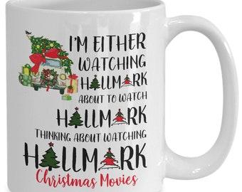 b3799319dee Hallmark christmas movie mug i'm either watching funny santa gift christmas  tree car coffee mugs cup best xmas gifts for men women mom bo.