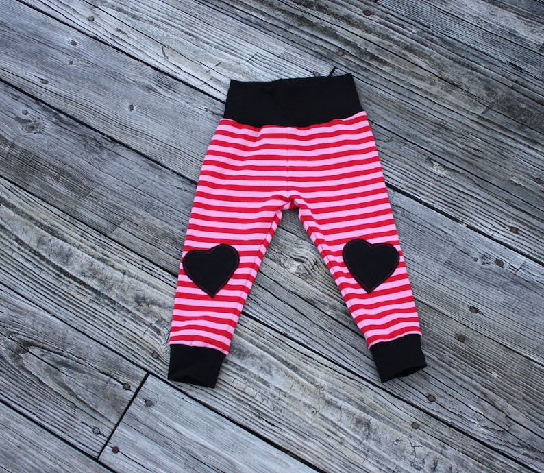 6878983e2a7ba Pink/Red striped & Black knee patch heart joggers leggings | Etsy