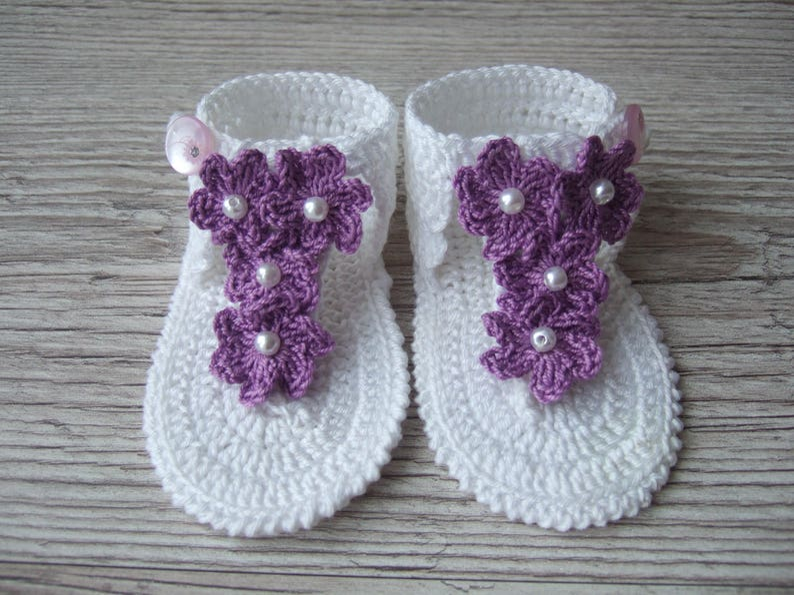 954705434 Crochet baby girl White summer sandals barefoot flip flops