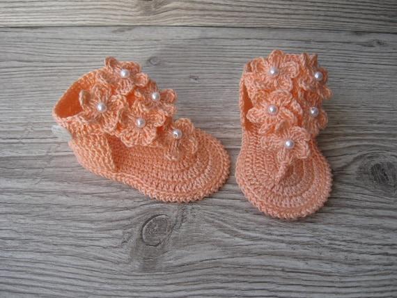 Häkeln Baby Mädchen Pfirsich Sommersandalen Barfuß Flip Flops Etsy