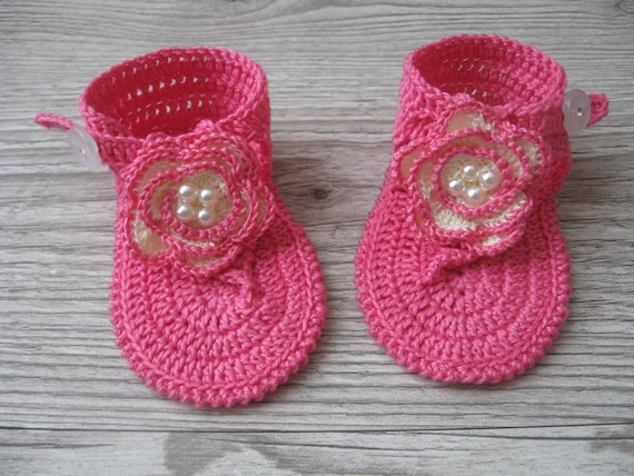 Häkeln Baby Mädchen Rosa Sommersandalen barfuß flip Flops | Etsy