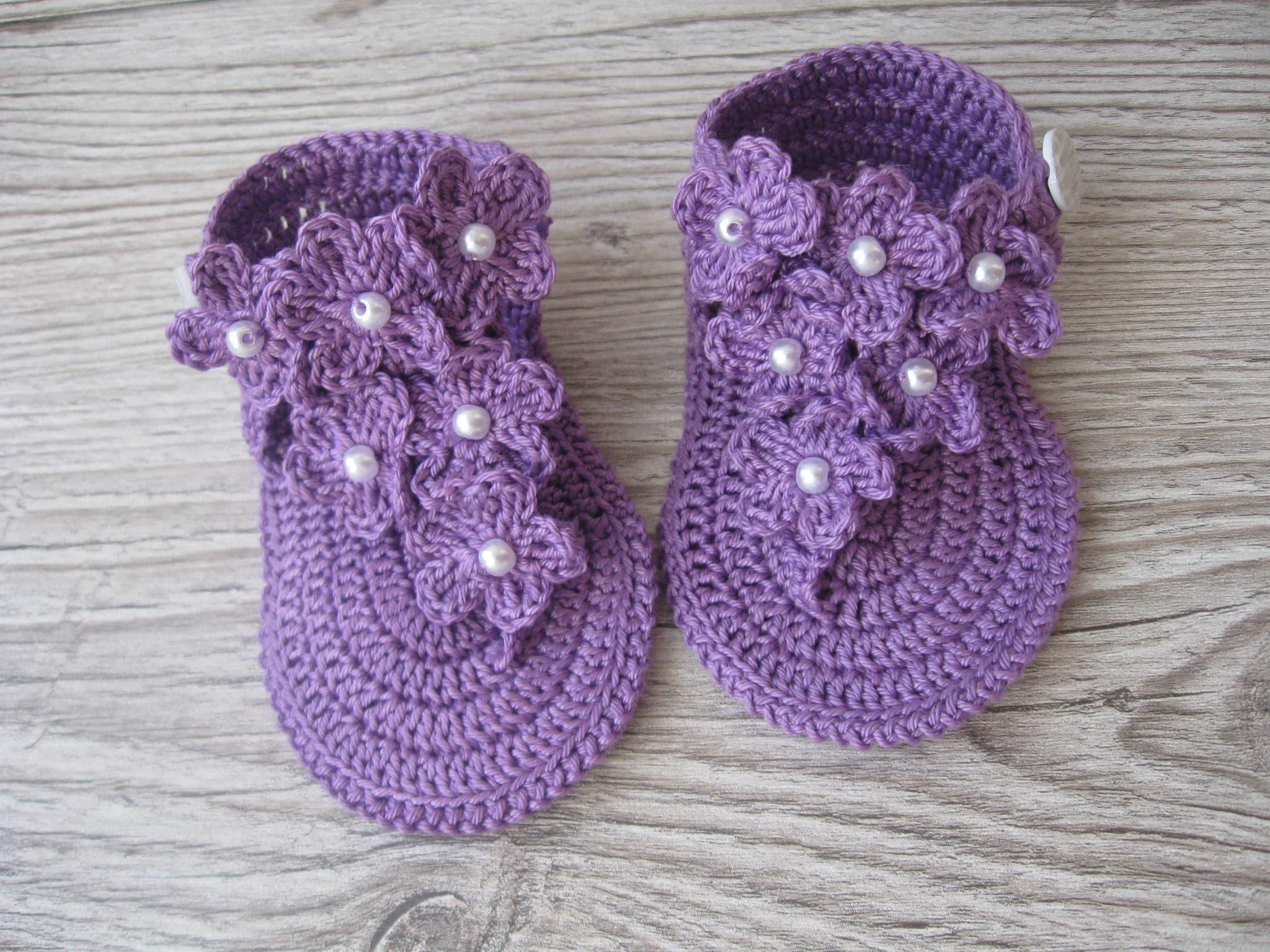 Häkeln Baby Mädchen lila Sommersandalen barfuß flip Flops