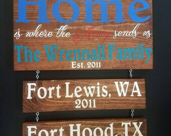 Military Sign/ Home is where./ Handmade/ Army/ Air Force/ Marines/ Coast Guard/ Navy/ Duty Station/ Military Wood Sign / Deployment/ America