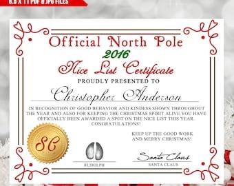 Printable nice list certificate, Santa Letter, Nice list, DIY Letter, Christmas Printables, Printable Certificate,Santa List, JPG & PDF