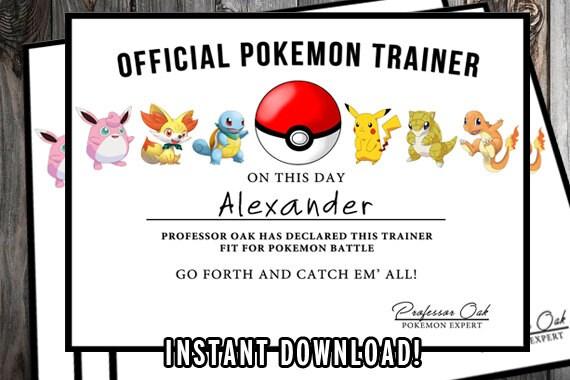 Pokemon-Zertifikat Pokemon Geburtstag druckbare Pokemon | Etsy