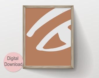 Abstract Eye Drawing Earth Tone Brush Stroke Geometric Shapes Art, Instant Download Printable Wall Art, Boho Neutral Art Prints Downloadable