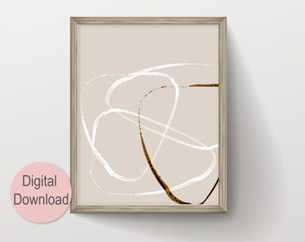 Printable Triangle Modern Line Drawing Instant Digital Download, Abstract Neutral Color Art in Beige Hues, Minimalist Gallery Wall Decor