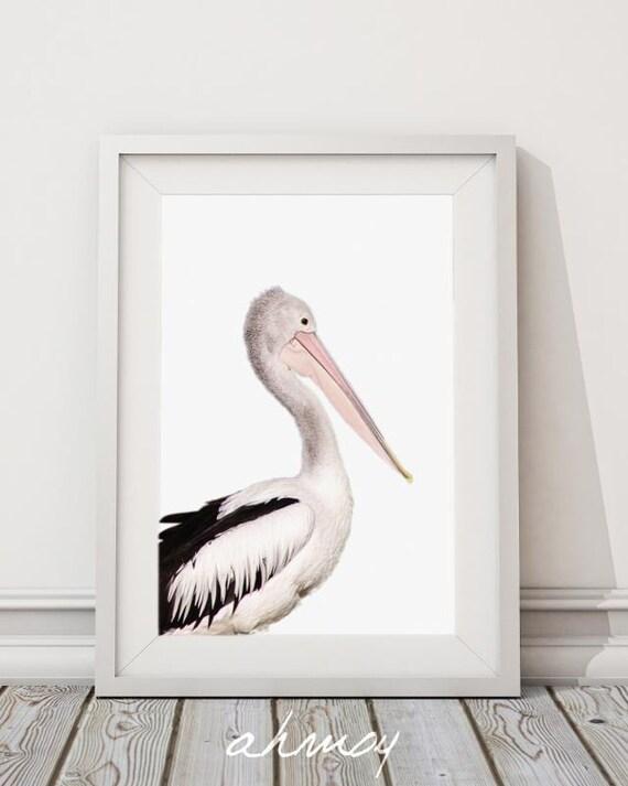 Coastal Pelican Wall Art Large Modern Minimalist Coastal | Etsy