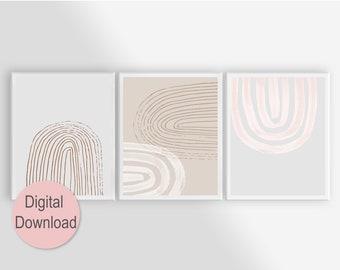 Scandinavian Art Set of 3 Wall Art, Minimalist Art Printable Digital Download for Living Room Decor, Hand-drawn Arch in Neutral Earth Tones
