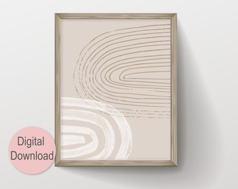 Instant Digital Download Abstract Arch Modern Line Drawing with Watercolor Brush Painting, Neutral Earth Tone Geometric Scandinavian Art