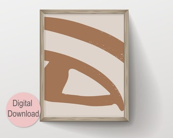 Abstract Eye Drawing Printable Wall Art, Instant Download Large Scandinavian Art, Modern Earth Tone Artwork, Neutral Color Brown and Beige