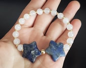 Third Eye Moon Magic Lucky Stars Bracelet made with Sodalite, Rainbow Moonstone Sailor Moon, Mystical Gift, Wicca, Star Jewelry, witchy