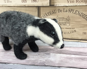 Needle Felted Badger - Needle felt - handmade