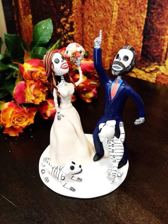 Day of the dead wedding cake topper Halloween wedding Dia de | Etsy