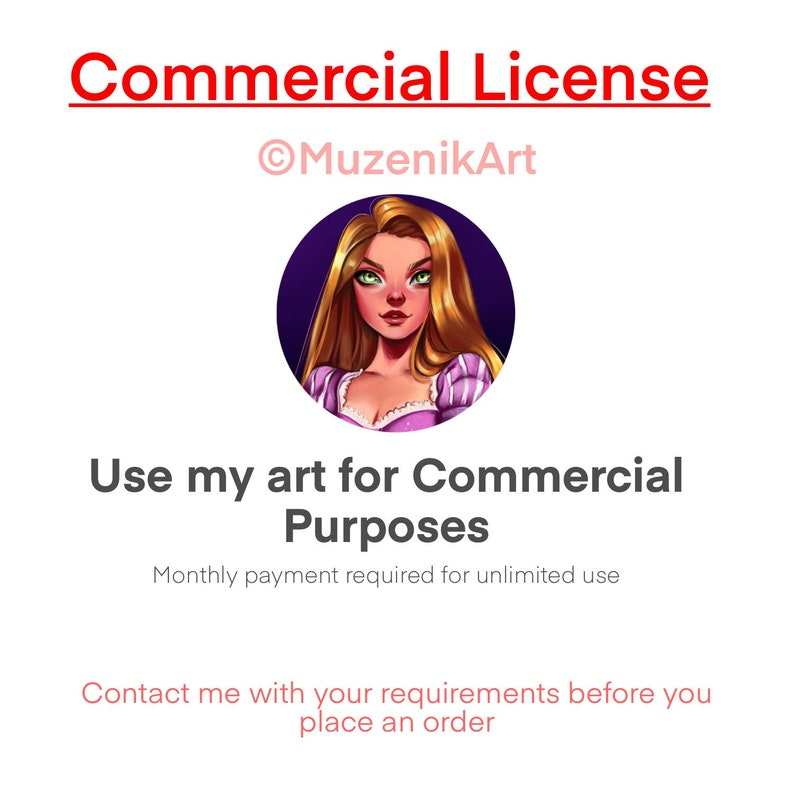 Commercial License for one artwork  limit 100 sales image 0