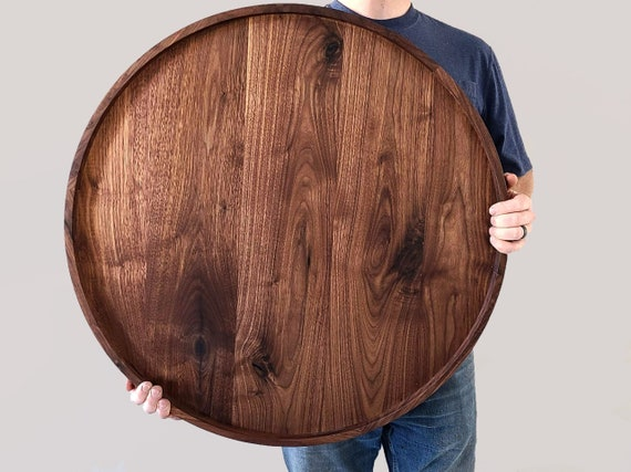 Round Wood Tray Black Walnut Circle, Black Coffee Table Tray Round