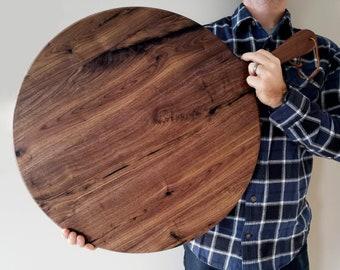 Large Charcuterie Board / Black Walnut / Round Paddle Board