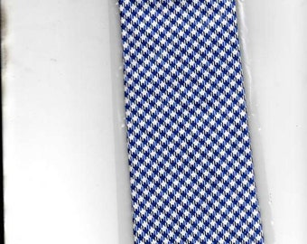 New Moodys 100% woven silk tie Gingham Check pattern dark blue blue fawn quality tie UK made