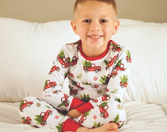 christmas pajamas red trucks pajamas red trucks youth pajamas toddler pajamas baby pajamas christmas photos pajamas xmas pjs - Christmas Pjs Toddler