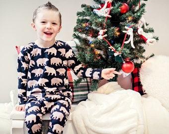 1d32eef16d Christmas Pajamas Woodland Buffalo Plaid Christmas Long