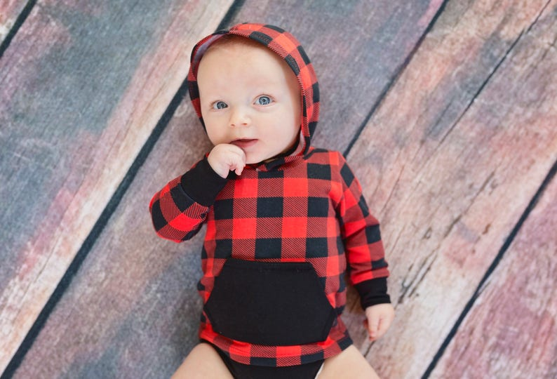 7e83cea64 Buffalo Plaid Onesie Buffalo Plaid Hooded bodysuit | Etsy